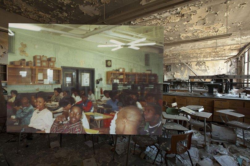 then and now abandoned school in detroit 3 - Fotos de uma escola abandonada em Detroit (antes e depois)