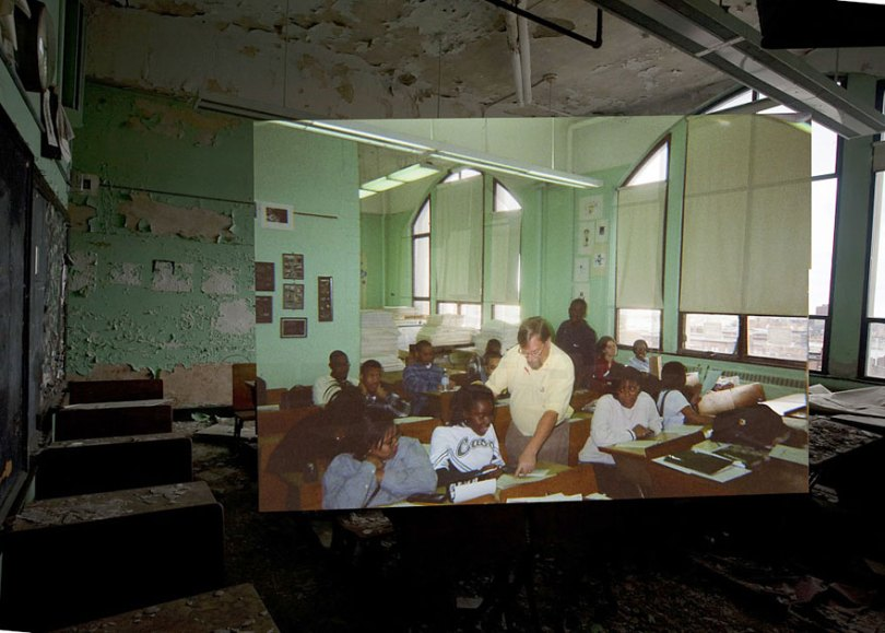 then and now abandoned school in detroit 4 - Fotos de uma escola abandonada em Detroit (antes e depois)
