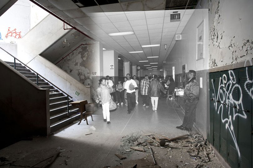 then and now abandoned school in detroit 5 - Fotos de uma escola abandonada em Detroit (antes e depois)