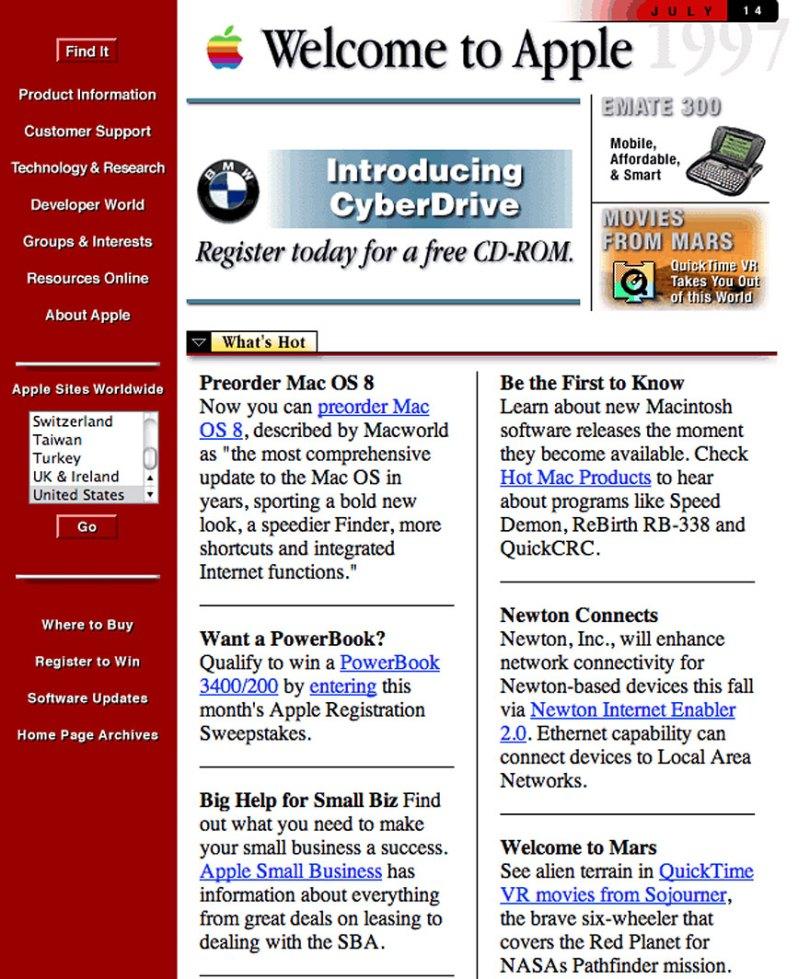 worlds biggest sites at launch wayback machine 11 - Como era a página principal dos grandes sites em seu início?