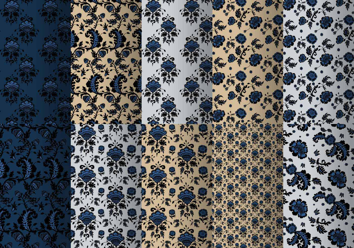 Cute Vintage Floral Wallpaper Blue Baroque Pattern Pack Free Photoshop Brushes At