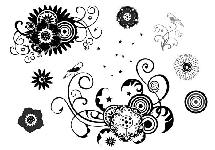 floral swirls and stars brush pack