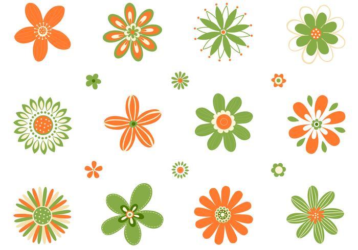 Retro Orange Green Flowers PSD Set  Free Photoshop