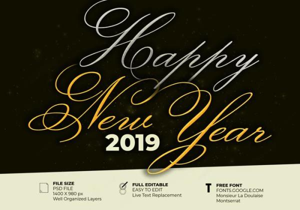 Beautiful Elegant Text Effect Of Happy New Year 2019 ...