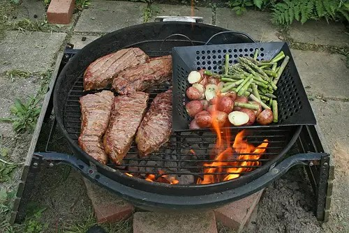 Charred meat, and grilling over an open flame