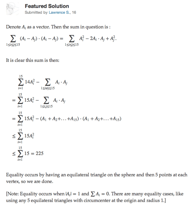 BONUS: Here's one of Lawrence Sun's problems solutions