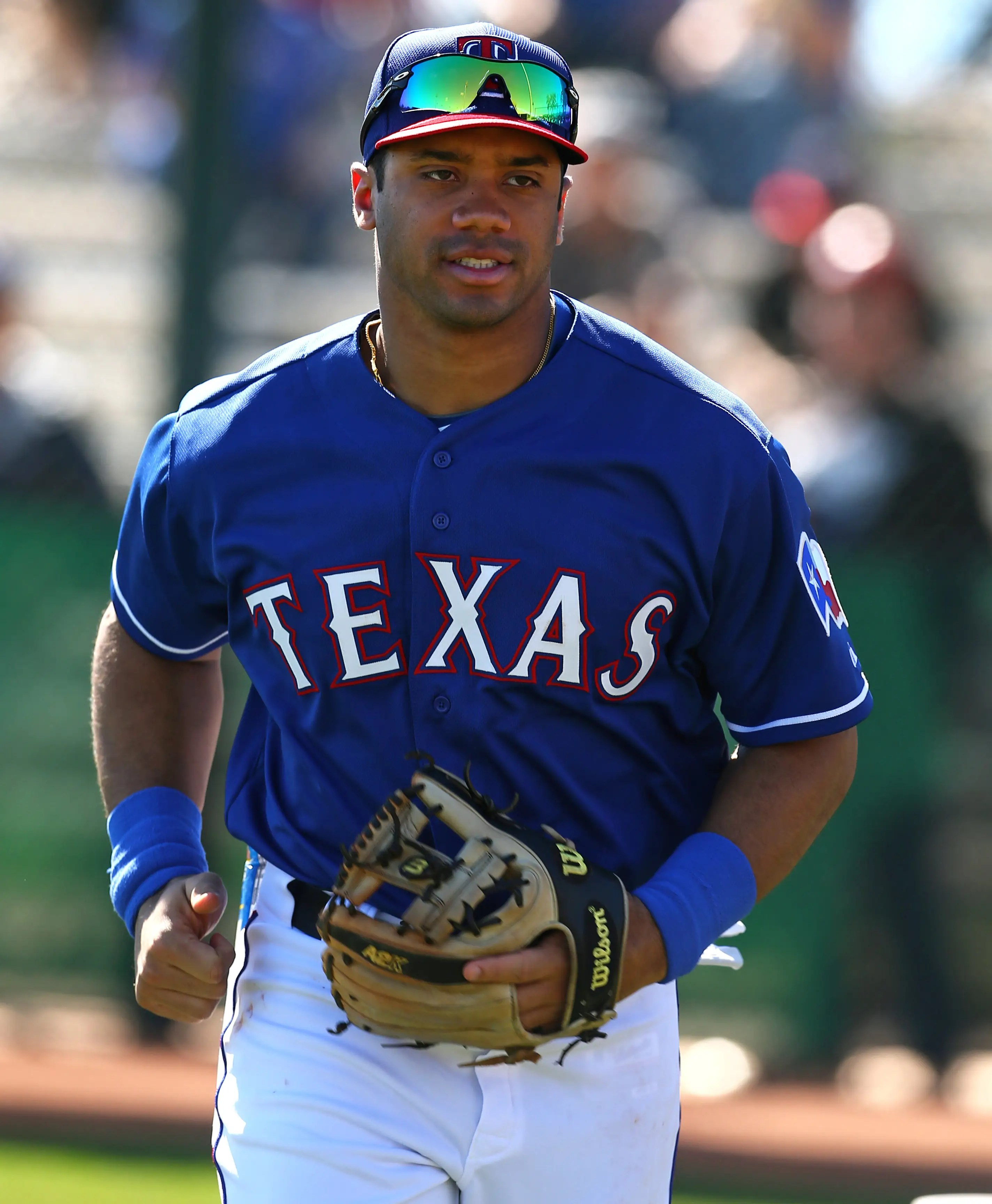 Russell Wilson Practiced With The Texas Rangers And Fans