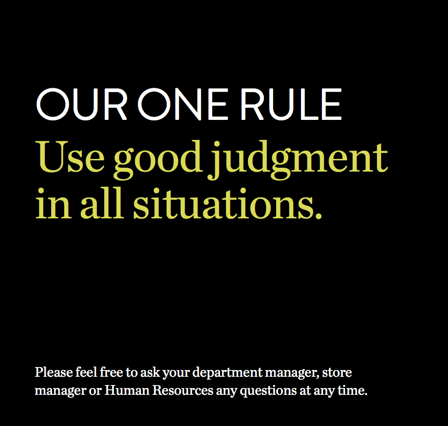 Nordstrom's Employee Handbook Is A Single Sentence
