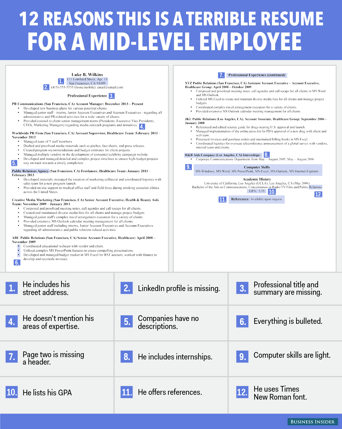 12 Reasons This Is Terrible Résumé For A Mid Level
