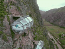 Hotel On the Side of a Mountain Cliff
