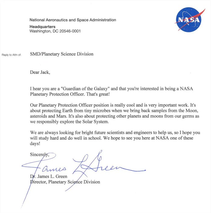 Nasa response letter child planetary protection officer earth defence job response