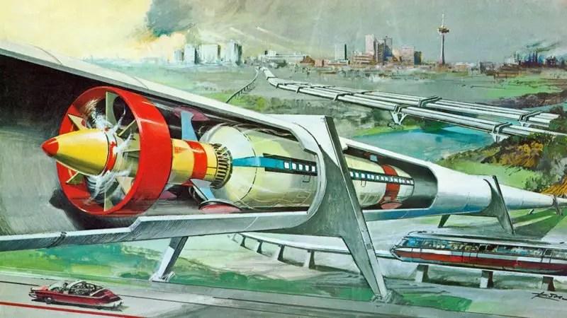 Durante tutto il XX secolo gli scienziati e gli scrittori di fantascienza hanno immaginato sistemi di trasporto che avrebbero funzionato come Hyperloop. Nel 1956, per esempio, il racconto