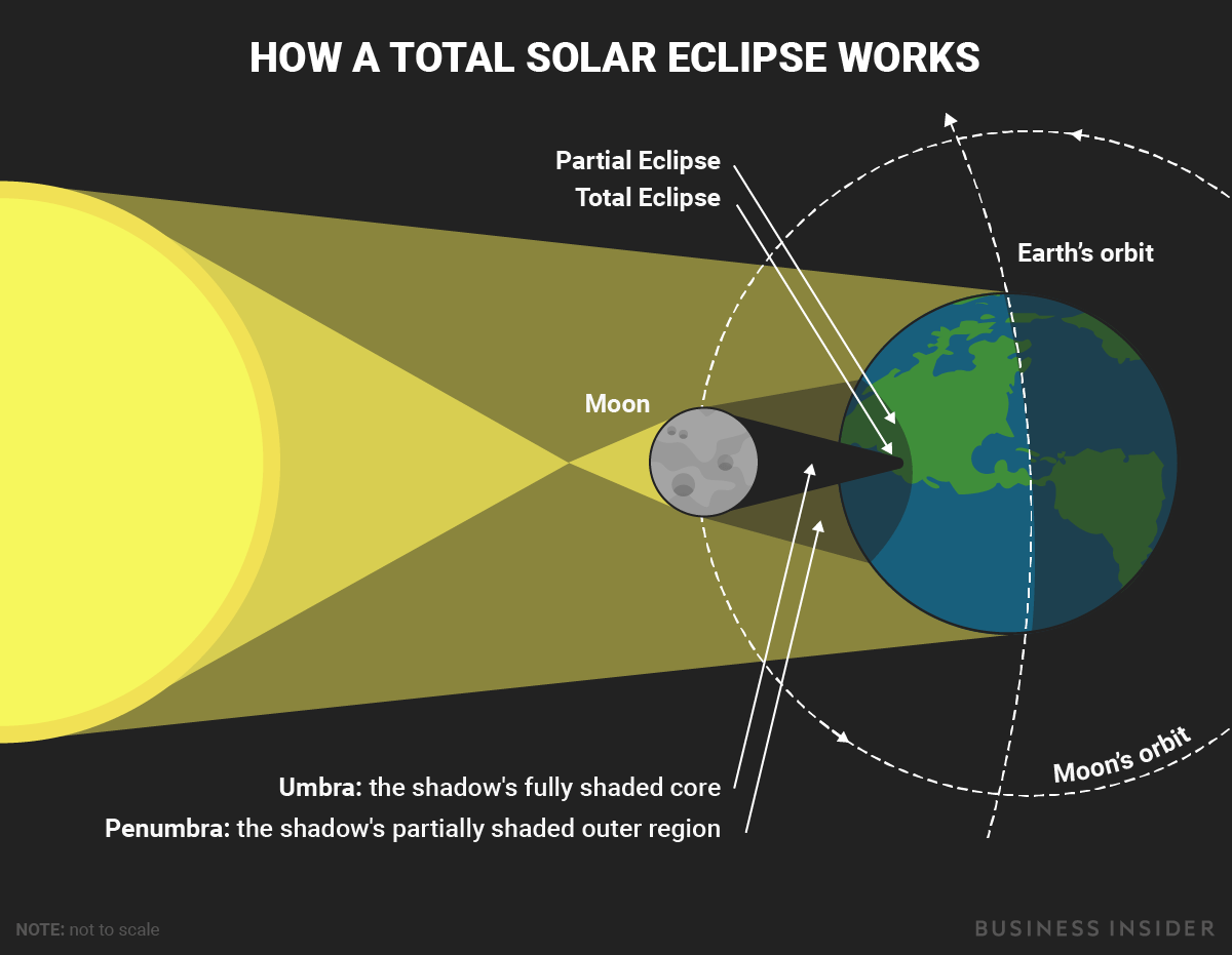 hight resolution of this diagram shows what happens during a total solar eclipse