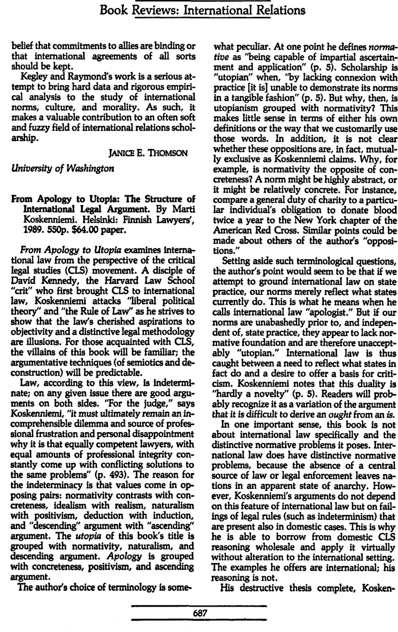 From Apology To Utopia The Structure Of International Legal