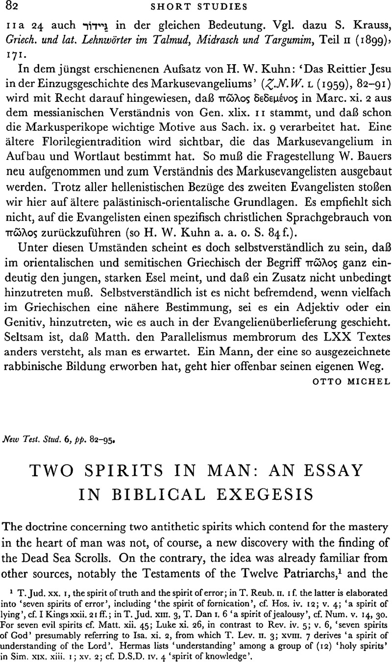 Article 92 Essay Two Spirits In Man An Essay In Biblical Exegesis