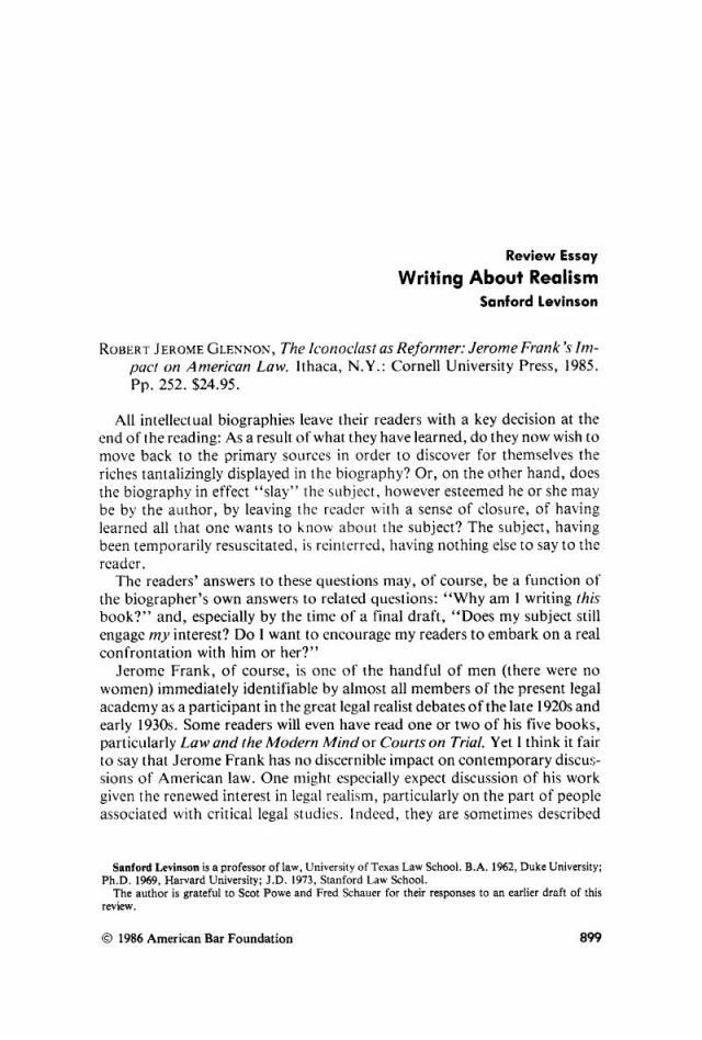 Writing About Realism  American Bar Foundation Research Journal