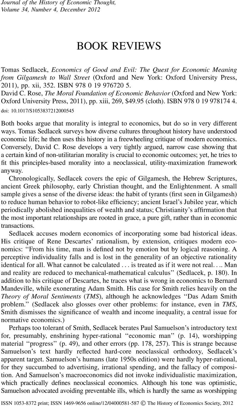 Tomas Sedlacek, Economics of Good and Evil: The Quest for Economic ...