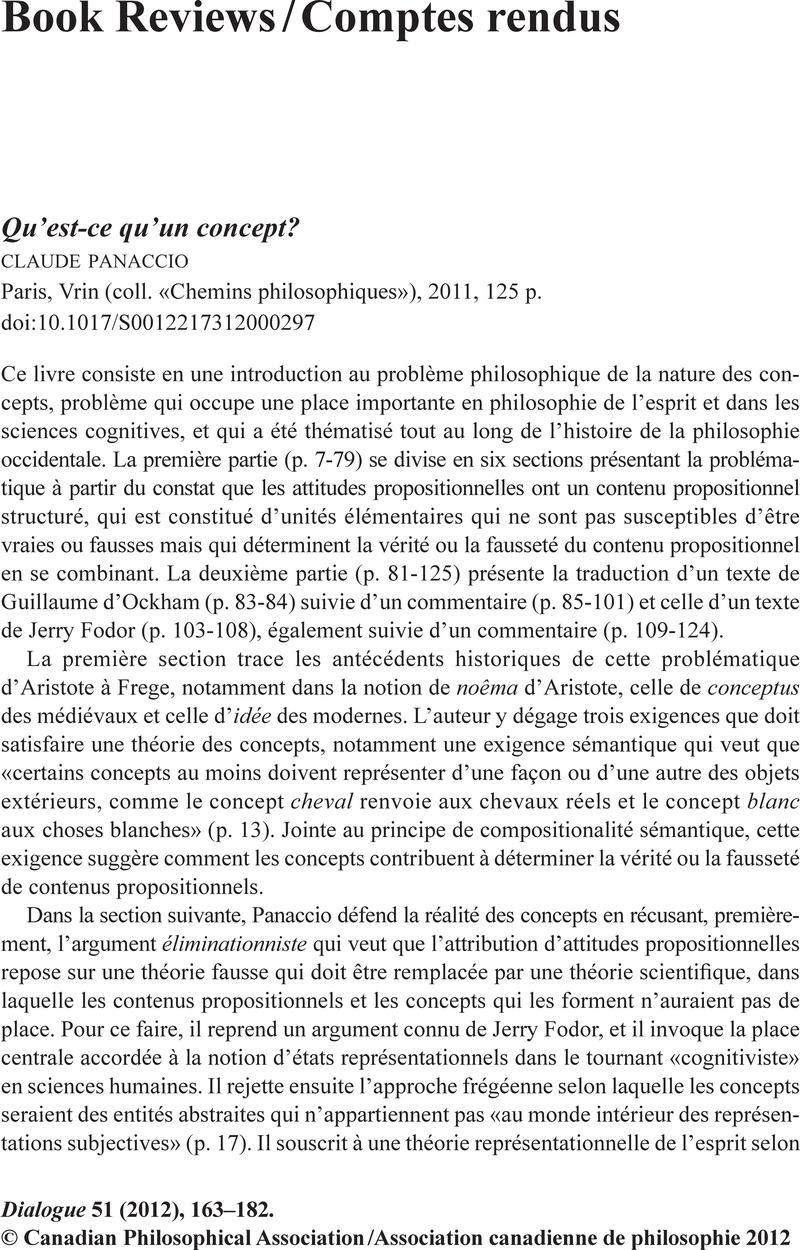 Qu Est Ce Qu Un Concept : concept, Qu'est-ce, Qu'un, Concept?PanaccioClaudeParis,, (coll., «Chemins, Philosophiques»),, 2011,, Cambridge