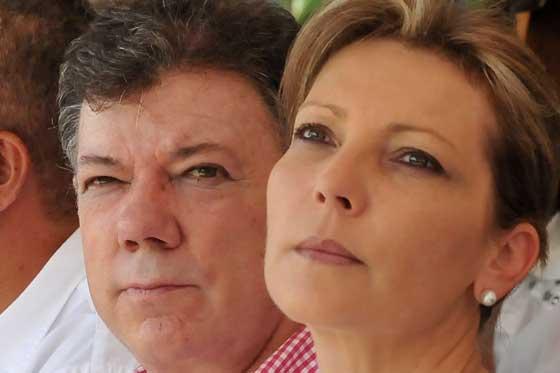 El presidente Juan Manuel Santos junto a su esposa, María Clemencia Rodríguez.