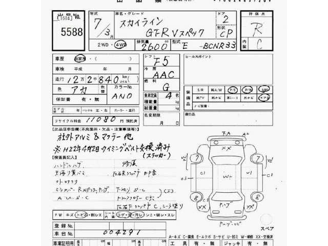 Used NISSAN SKYLINE GT-R 1995/Mar BCNR33-004291 in good