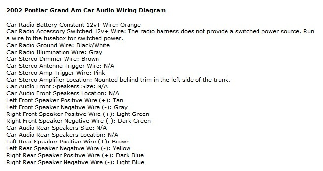 2006 Infiniti G35 Stereo Wiring Harness Diagram Pontiac Grand Am Questions Can Anyone Help Me With