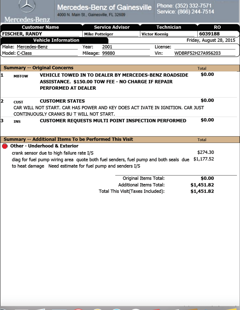 hight resolution of they are saying also needs rear brakes manifold tumbler total for all would be over 6000 i am inclined to sell it or trade it