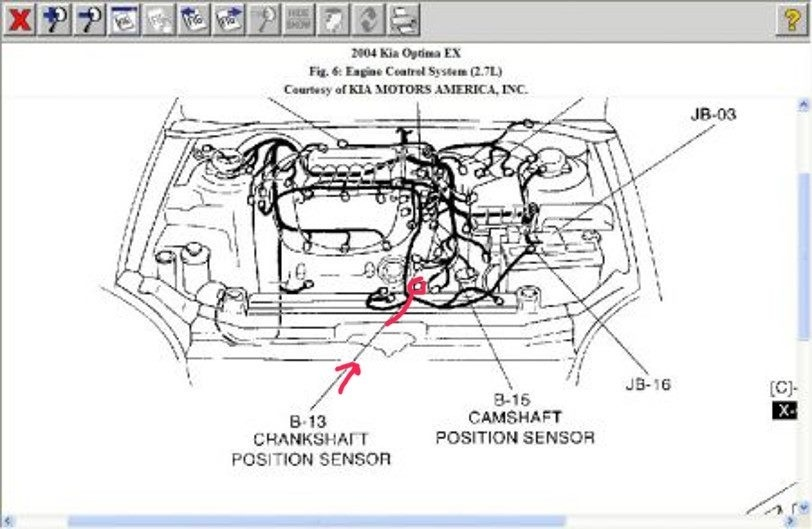 2007 kia optima camshaft position sensor location