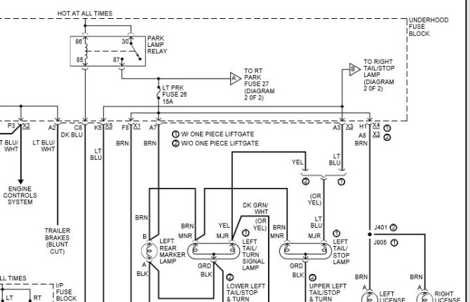 chevrolet avalanche questions  left tail light wiring