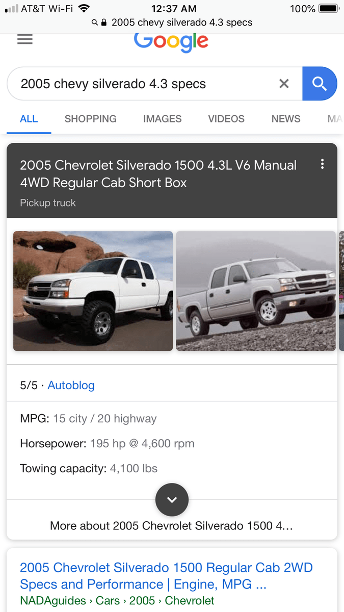 medium resolution of 2005 chevy 4 3 is 195hp its a joke you think it has 249 sorry ass engine for a truck