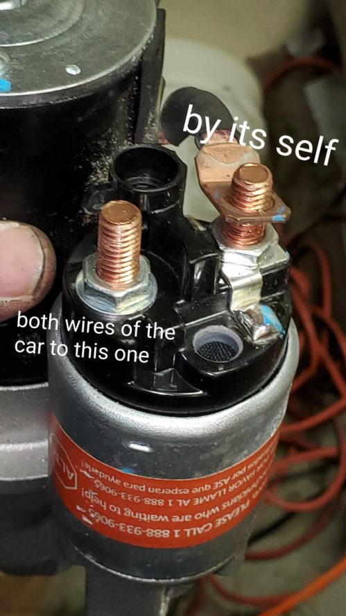 small resolution of the starter wires wrong now everything is working fine p s starter wires from car goes to one pin with nut the other pin by it self