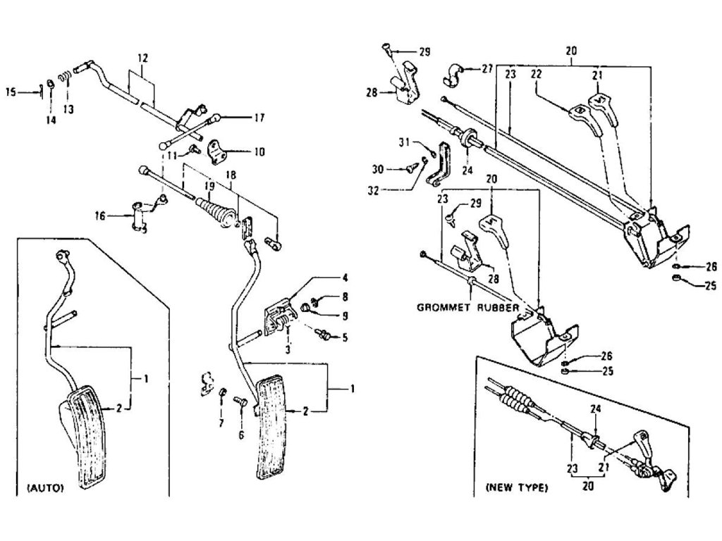 Datsun Z Accelerator Pedal, Choke & Throttle Control L24