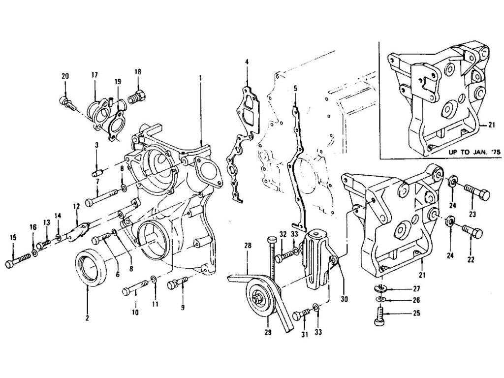 Datsun Z Front Cover & Compressor Mounting L28E