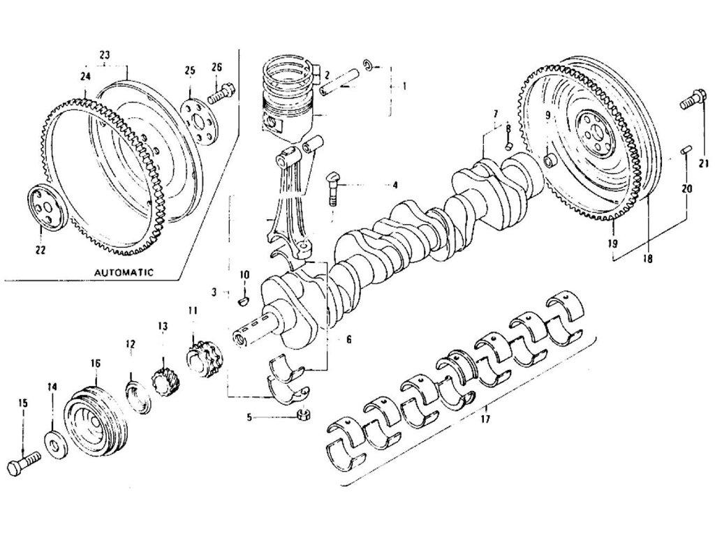 Datsun Z Piston Crankshaft & Connecting Rod L28E