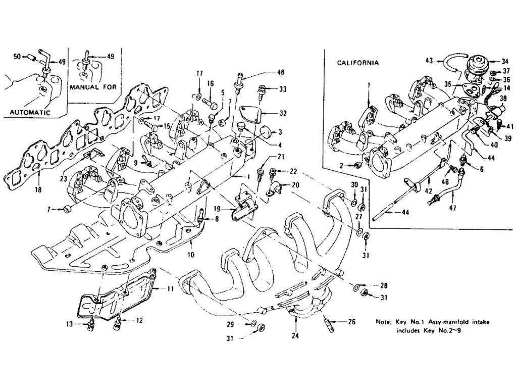 Datsun Z Manifold, Egr. L28E (To Jul.-'76)