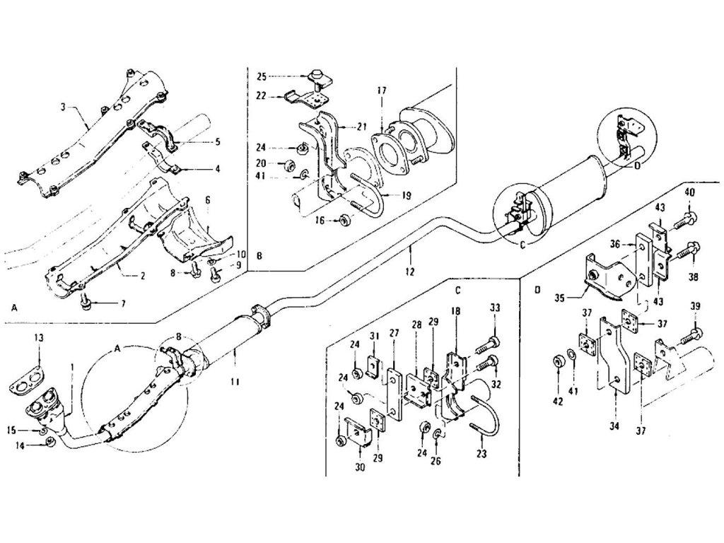 Datsun Z Exhaust Tube & Muffler (Fed) L28E