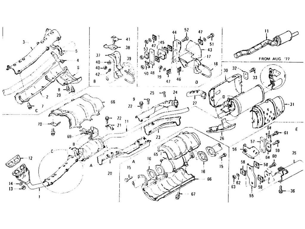 Datsun Z Exhaust Tube, Muffler & Catalyst Converter (Cal) L28E