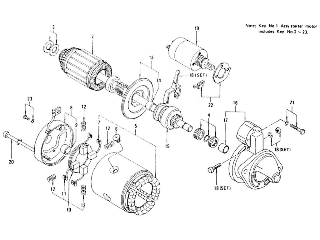 Datsun Z Starter Motor Index (For Automatic)