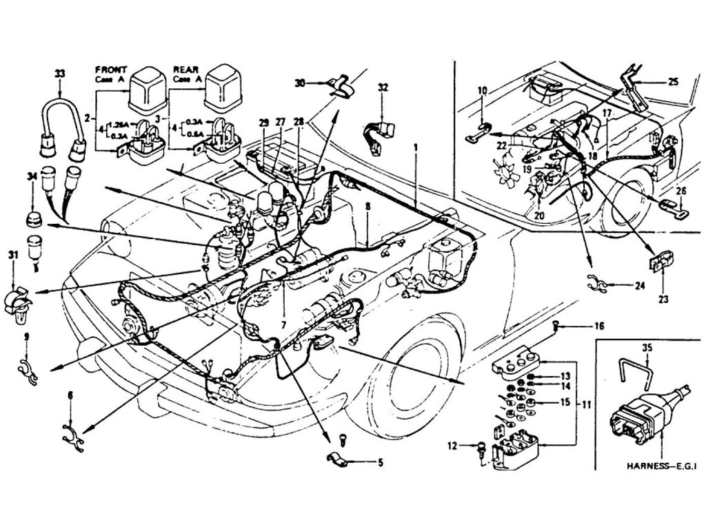 Datsun Z Wiring (Engine Room) (From Dec.-'74 To Jul.-'76)