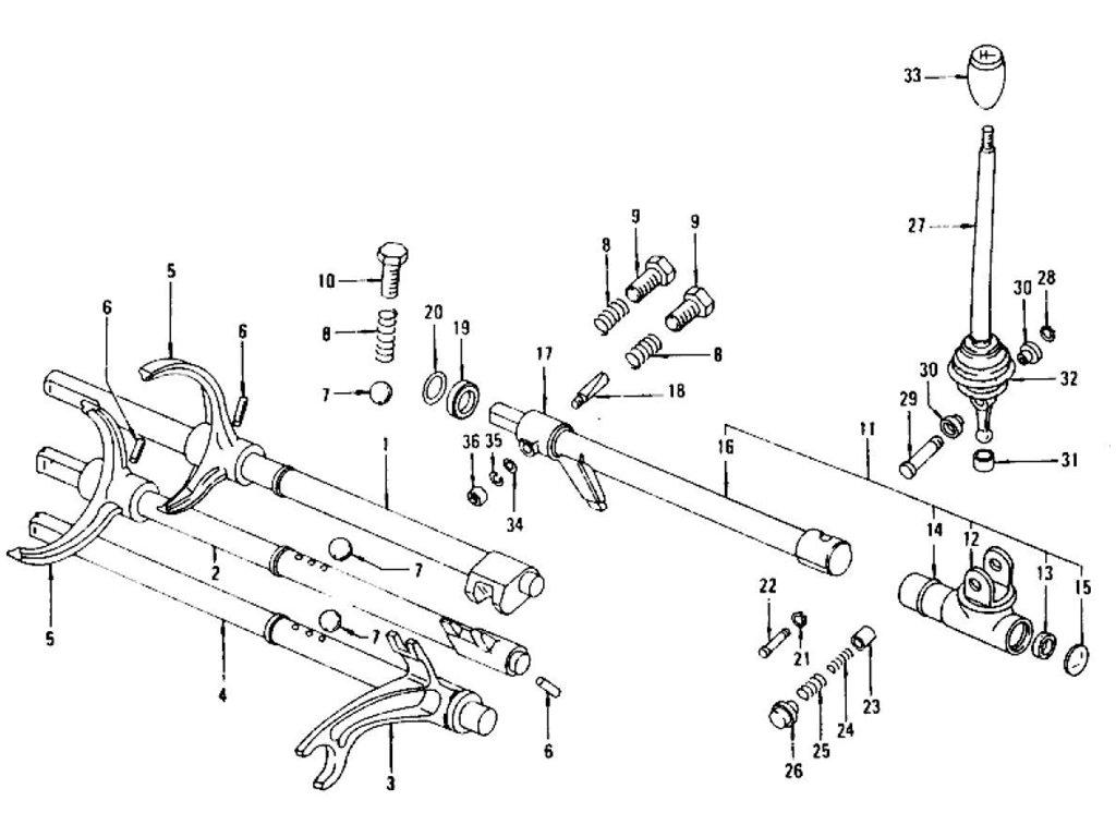 Datsun Z Transmission Control Lever & Fork (4 Speed-F4W71B