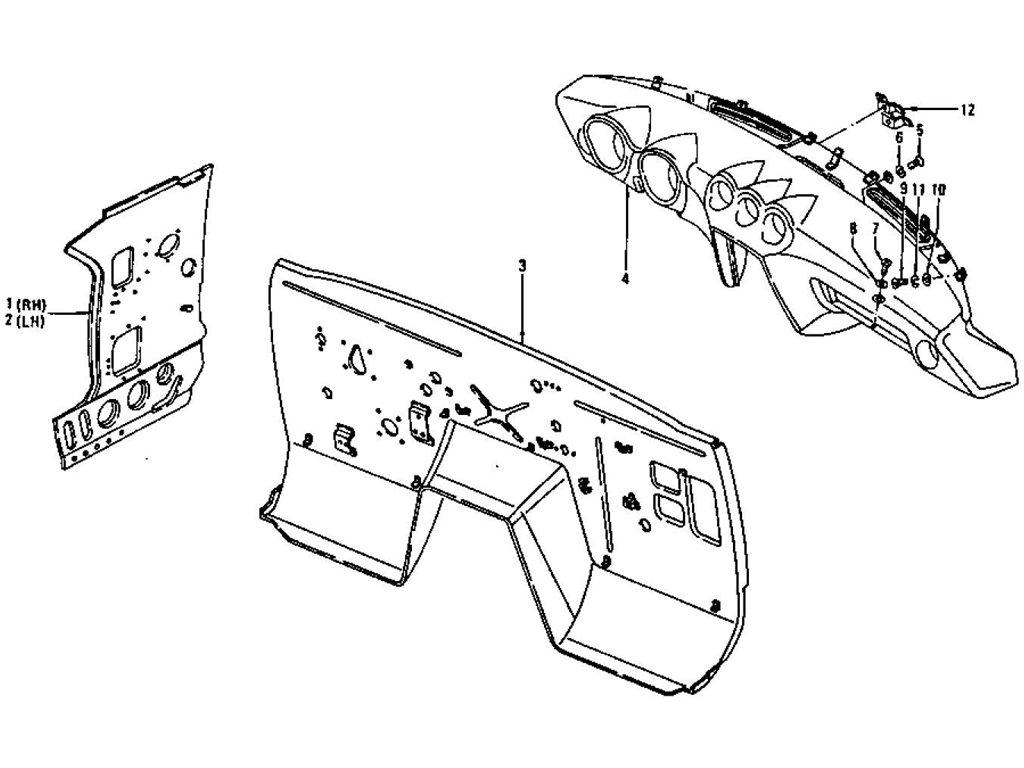 Datsun Z Dash Panel, Dash Side Panel & Instrument (To Jul
