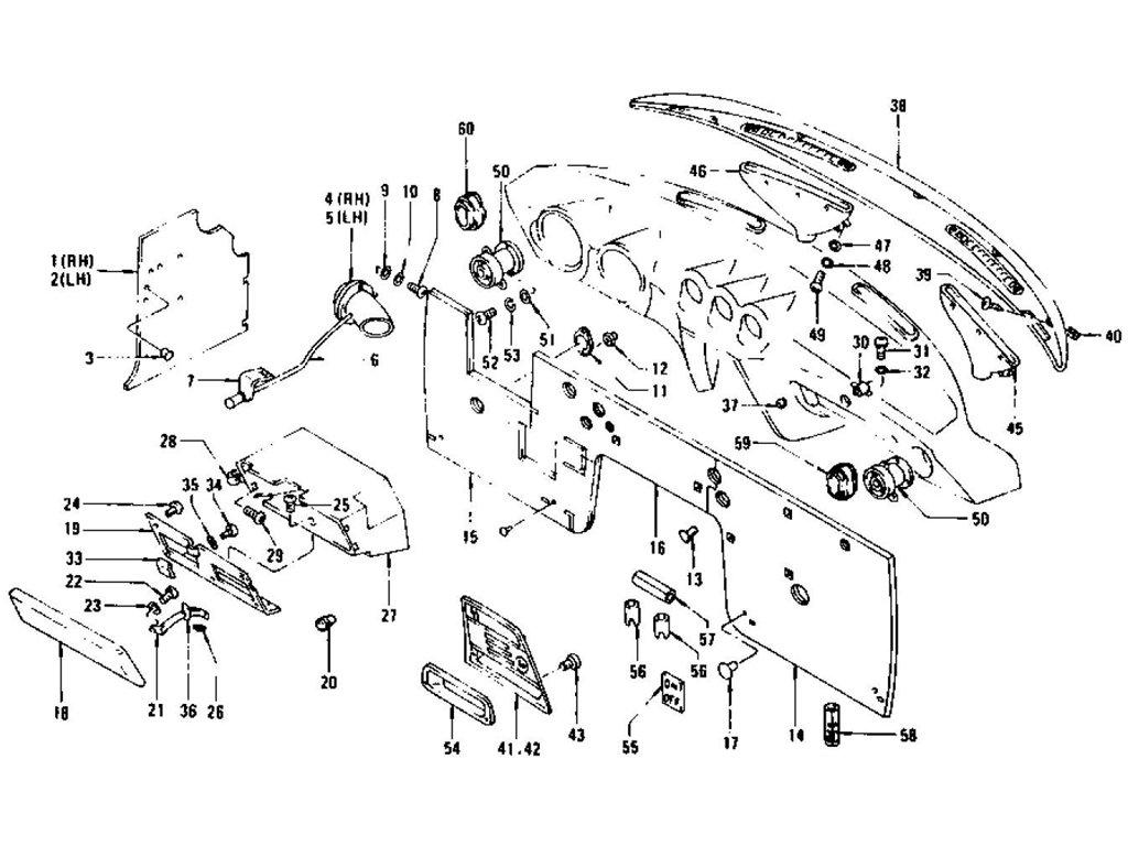 Datsun Z Dash Side Trim, Insulator & Glove Box (To Jul.-'73)