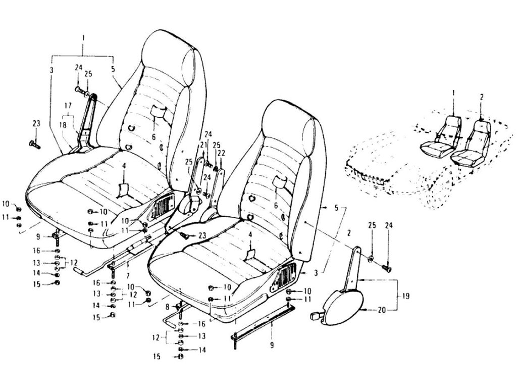 Datsun Z Seat & Slide (Type 2 Reclining Seat) (To Jul.-'73)
