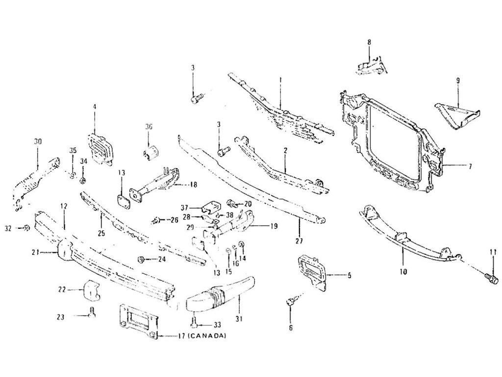 Datsun Z Radiator Grille, Front Bumper & Over Rider (2