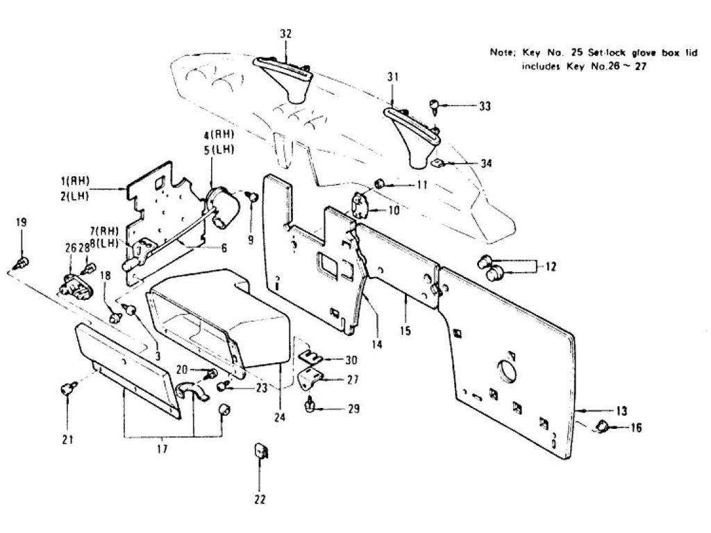 Datsun Z Dash Side Trim, Insulator & Glove Box (2 Seater