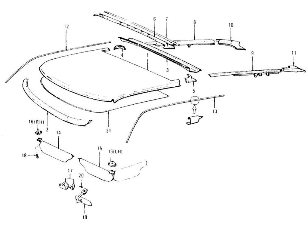 Datsun Z Roof Panel Moulding, Sunvisor & Head Lining (2