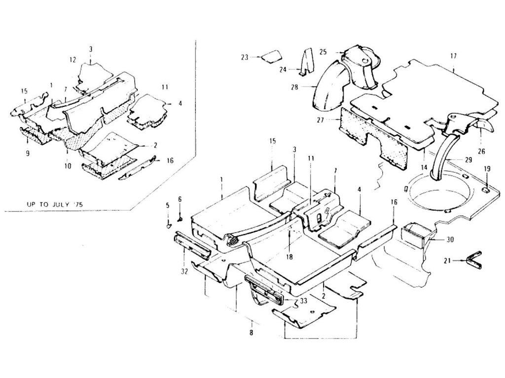 Datsun Z Floor Trim, Mat, Insulator & Rear Wheel House