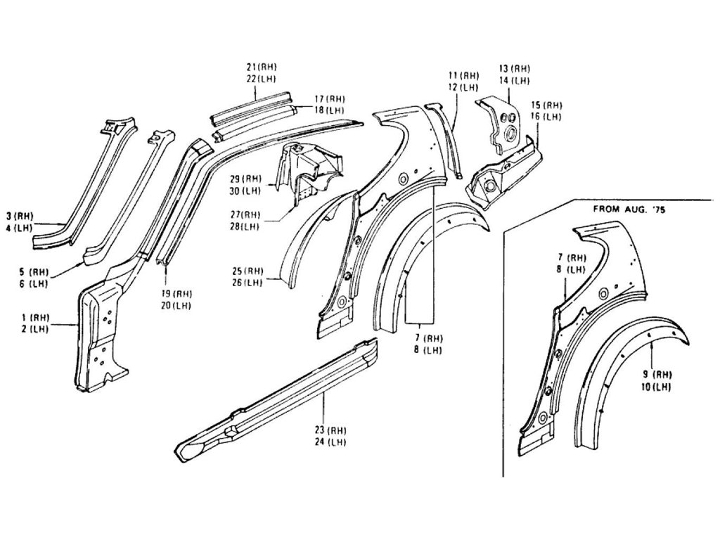 Datsun Z Body Side Panel & Sill Body (2 Seater) (From Aug