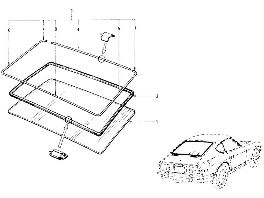 Datsun Z Tail Gate Window (2 Seater) (From Aug.-'73)