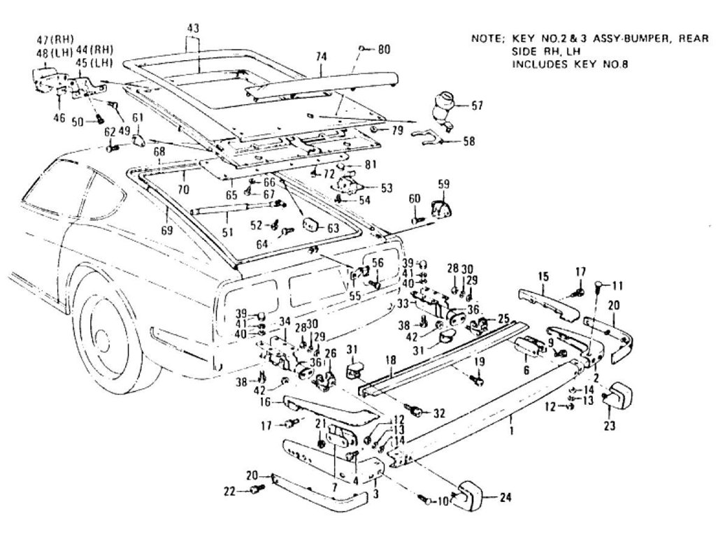 Datsun Z Tail Gate Panel, Trim, Lock & Rear Bumper (2