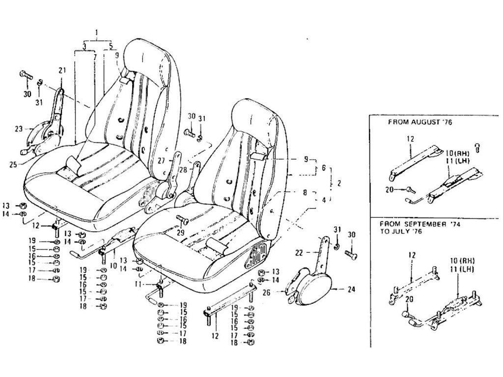 Datsun Z Seat & Slide (2 Seater) (From Aug.-'73)
